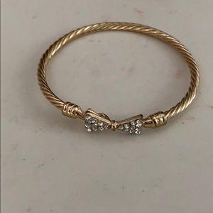 Gold crystal bow bangle bracelet